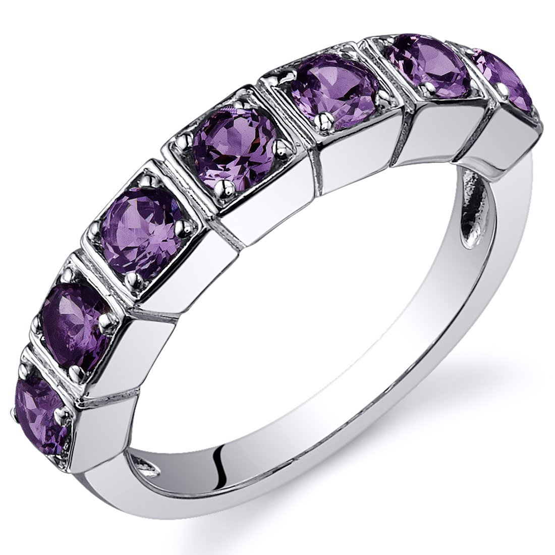Simulated Alexandrite Band Ring Sterling Silver 1.75 Carats Sizes 5 to 9