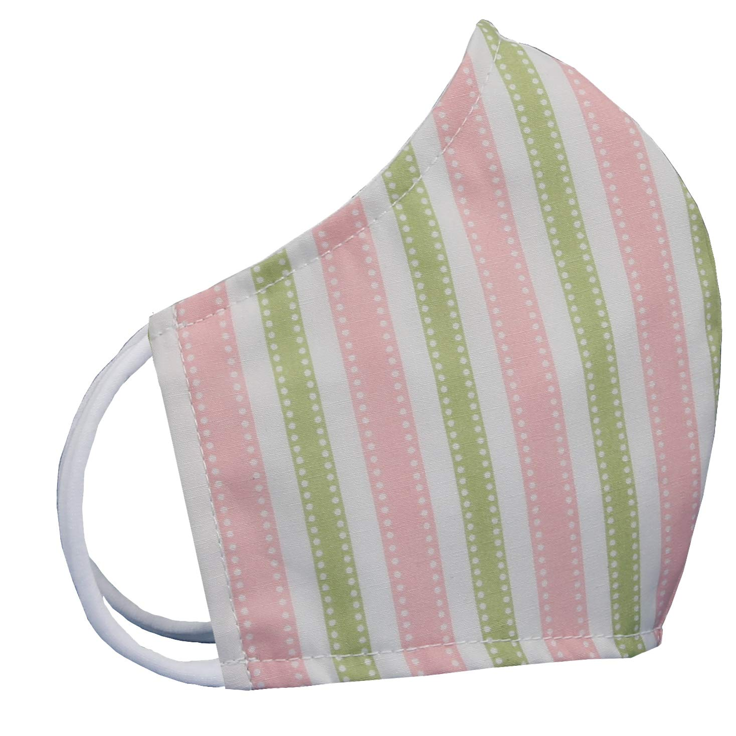 Three Layer Woven Cotton with Filter Pocket Made in USA (Stripe - Pink/Green)