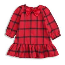 Toddler Baby Girl Red Plaid Dress Bowtie Long Sleeve Princess Tutu Dress Spring Dress Outfits
