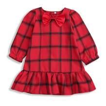 Toddler Baby Girl Red Plaid Dress Bowtie Long Sleeve Princess Tutu Dress Spring Dress Outfits