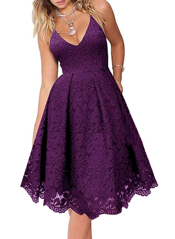 AlvaQ Women Floral Lace V Neck Spaghetti Straps Cocktail A-Line Dress Sleeveless Formal Bridesmail Midi Dresses Purple Small