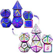 HAOMEJA Color Changing Temperature Metal DND dice kit, D&D dice Set Role Playing Dice Dungeons and Dragons Blue Transition White