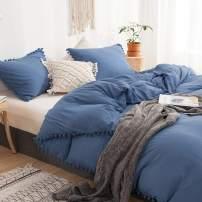 MOVE OVER 3 Pieces Blue Bedding Royal Blue Duvet Cover Set Ball Fringe Pattern Soft Dodger Blue Bedding Sets Queen 1 Duvet Cover 2 Ball Lace Pillow Shams (Queen, Dodger Blue)
