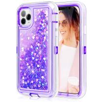 Caka Glitter Case for iPhone 11 Pro Max Glitter Protective Case Shockproof Liquid Flowing Bling Shining Love Sparkle TPU Bumper Girls Women Case for iPhone 11 Pro Max (6.5 inch)(Love Purple)