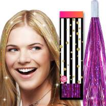 Hair Tinsel Glitter Strands - by HAIR DAZZLE - 100 x 40 inch Holographic Fairy Extensions - FUCHSIA PINK color - Salon Quality & Safe For Kids, Perfect Christmas Party Accessories or Gifts for Girls