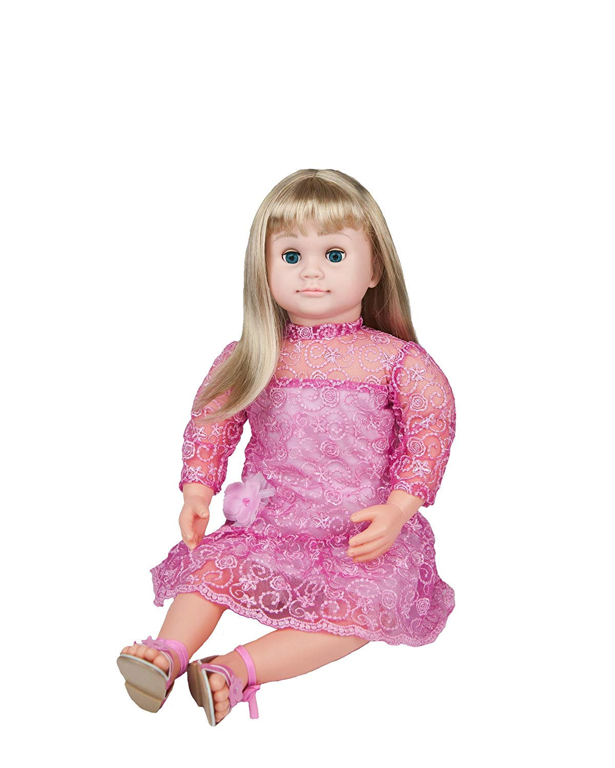 Ask Amy Talking Dolls for 3 Year Old Girls, Interactive Educational Toys for Preschoolers Kids Toddlers Age 3 and Up, Blond Doll Pink Dress