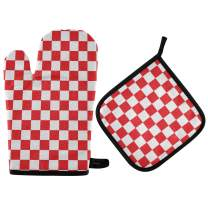 MNSRUU Oven Gloves and Pot Holders Set Red White Checkered Oven Mitt Heat Resistant to 400 F Kitchen Non-Slip Grip Oven Gloves for Microwave BBQ Cooking Baking Grilling