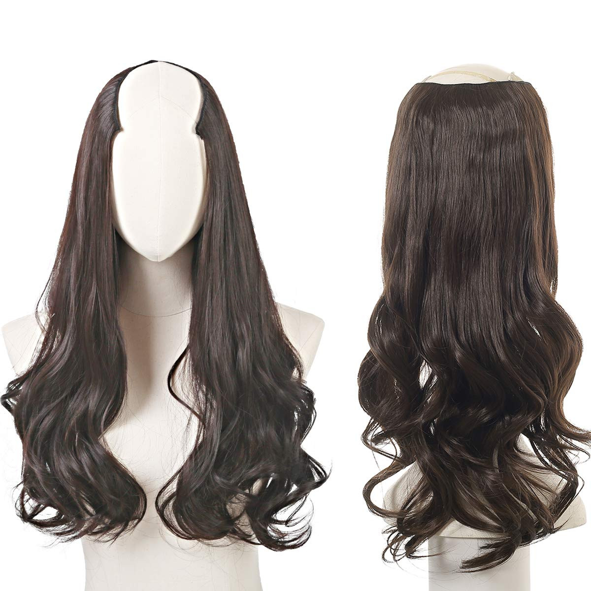 """Clip in Hair Extension Brown Curly Curl Wave Full Head Long 24"""" 0.37lb 170g One Piece U part Synthetic Hairpiece For Women Natural Real Hair Piece Japan High Temperature Fiber(UH17#6 Dark brown)"""