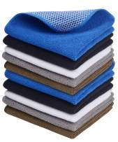 SINLAND Wholesale 5 Color Assorted Microfiber Dish Cloth Best Kitchen Cloths Cleaning Cloths Poly Scour Side 12inchx12inch (Bluex2+whitex2+greyx2+brownx2+blackx2)
