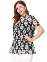 uxcell Women's Stand Collar Short Sleeves Floral Lace Tunic Blouse