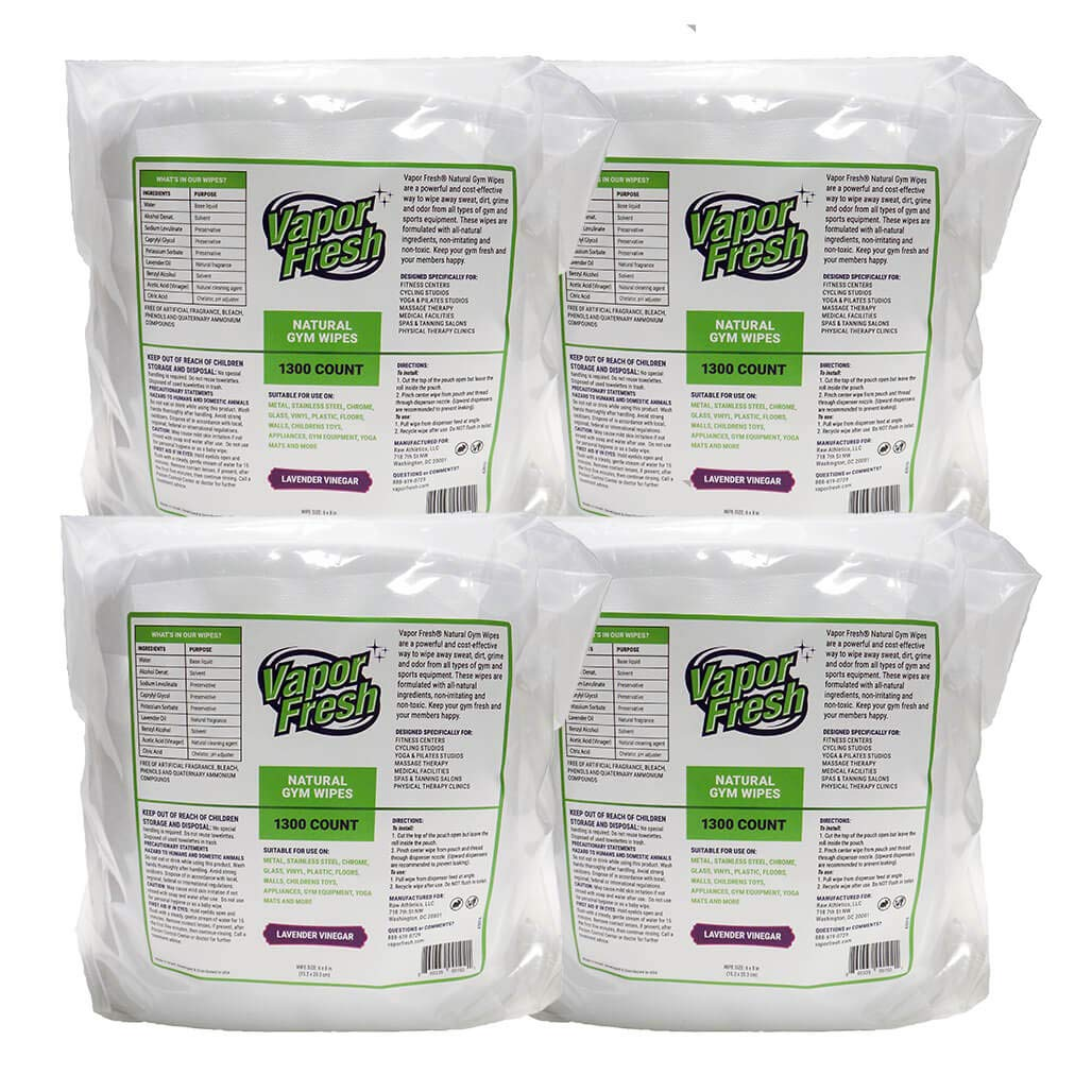 Vapor Fresh Natural Gym Wipes - 4 Rolls, 5200 Wipes - Perfect for Gym & Fitness Equipment, Spin Studios and Yoga Mats - Lavender Vinegar Scent