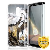 TJS Phone Case for LG Stylo 5/Stylo 5 Plus/Stylo 5V/Stylo 5X, with [Full Coverage Tempered Glass Screen Protector] Ultra Thin Slim TPU Matte Color Marble Transparent Clear Soft Skin (Black/White/Gold)