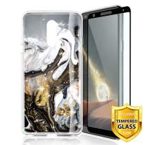 TJS LG Stylo 4 2018/LG Stylo 4 Plus/LG Q Stylus/LG Q Stylus Plus/LG Q Stylus Alpha Phone Case, [Full Coverage Tempered Glass Screen Protector] TPU Marble Color Transparent Clear Soft Skin (Colorful)