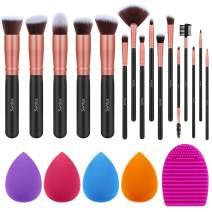 Syntus Makeup Brush Set, 16 Makeup Brushes & 4 Blender Sponge & 1 Brush Cleaner Premium Synthetic Foundation Powder Kabuki Blush Concealer Eye Shadow Makeup Brush Kit, Black Golden