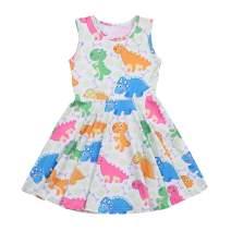 YOUNGER TREE Kids Girl Cartoon Dinosaur Print Tunic Casual Princess Party Dress Sundress