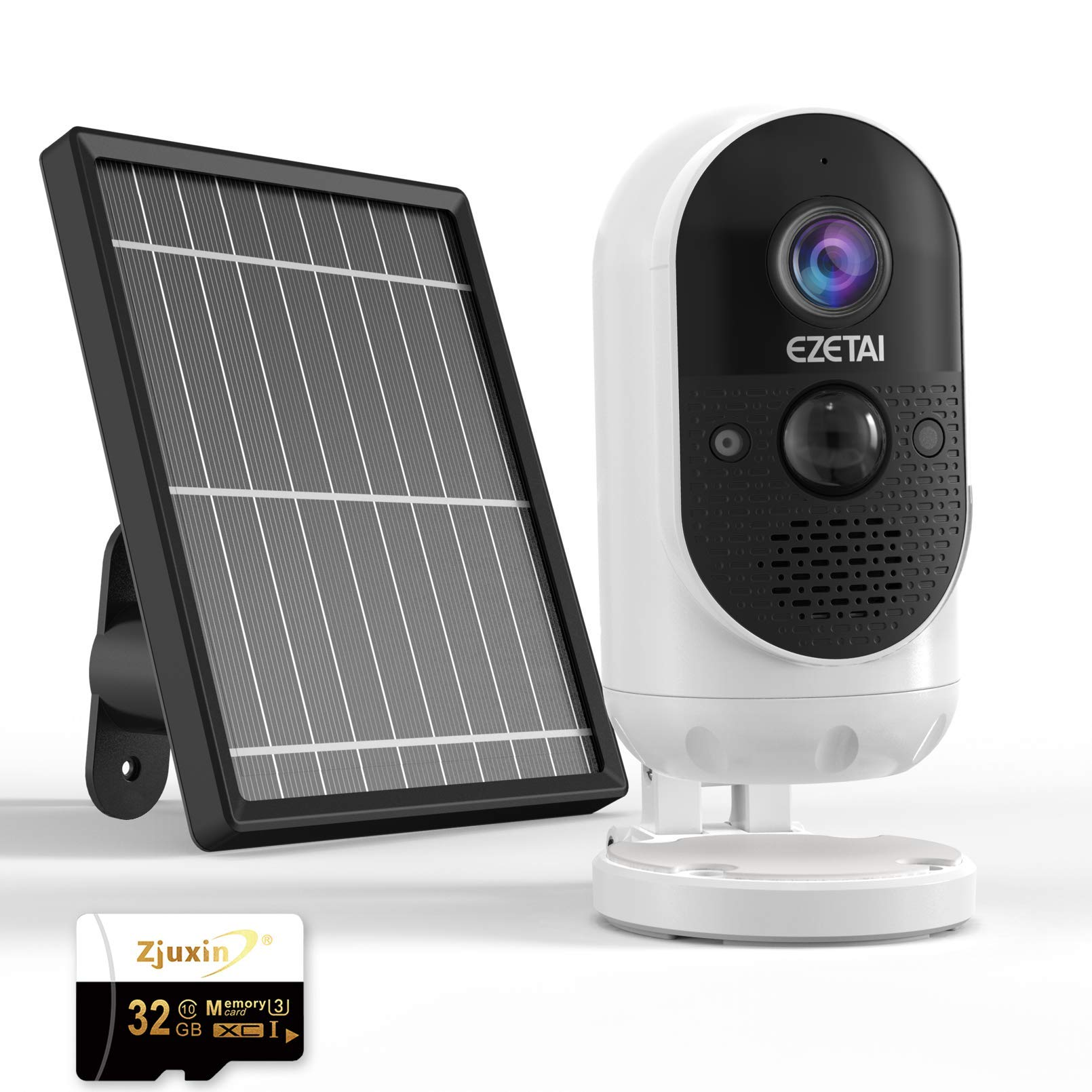 Home Security Camera System Wireless Indoors/Outdoor,WiFi Solar Rechargeable Battery Power IP Surveillance CCTV Camera,1080p,Motion Detection,Night Vision,2-Way Audio,Waterproof,Cloud+32gb TF Card