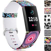 Maledan Compatible with Fitbit Charge 3 Bands and Charge 4 Bands, Breathable Replacement Pattern Strap Accessories Wristbands Colorful Jellyfish, Large Size