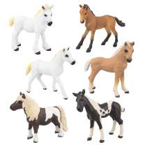 """TOYMANY 6PCS 3-4"""" Realistic Horse Pony Figurines Set, Detailed Textures Foal Animal Figures Toy, Christmas Birthday Gift Cake Topper for Kids Toddlers Children"""