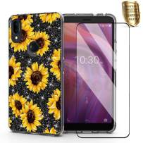 for Alcatel 3V 2019 Case,DDTKZC Tempered Glass Protector Lustre Pattern-Sparkle 3 in 1 Clear Shockproof Case for A3V (Yellow Sunflower)
