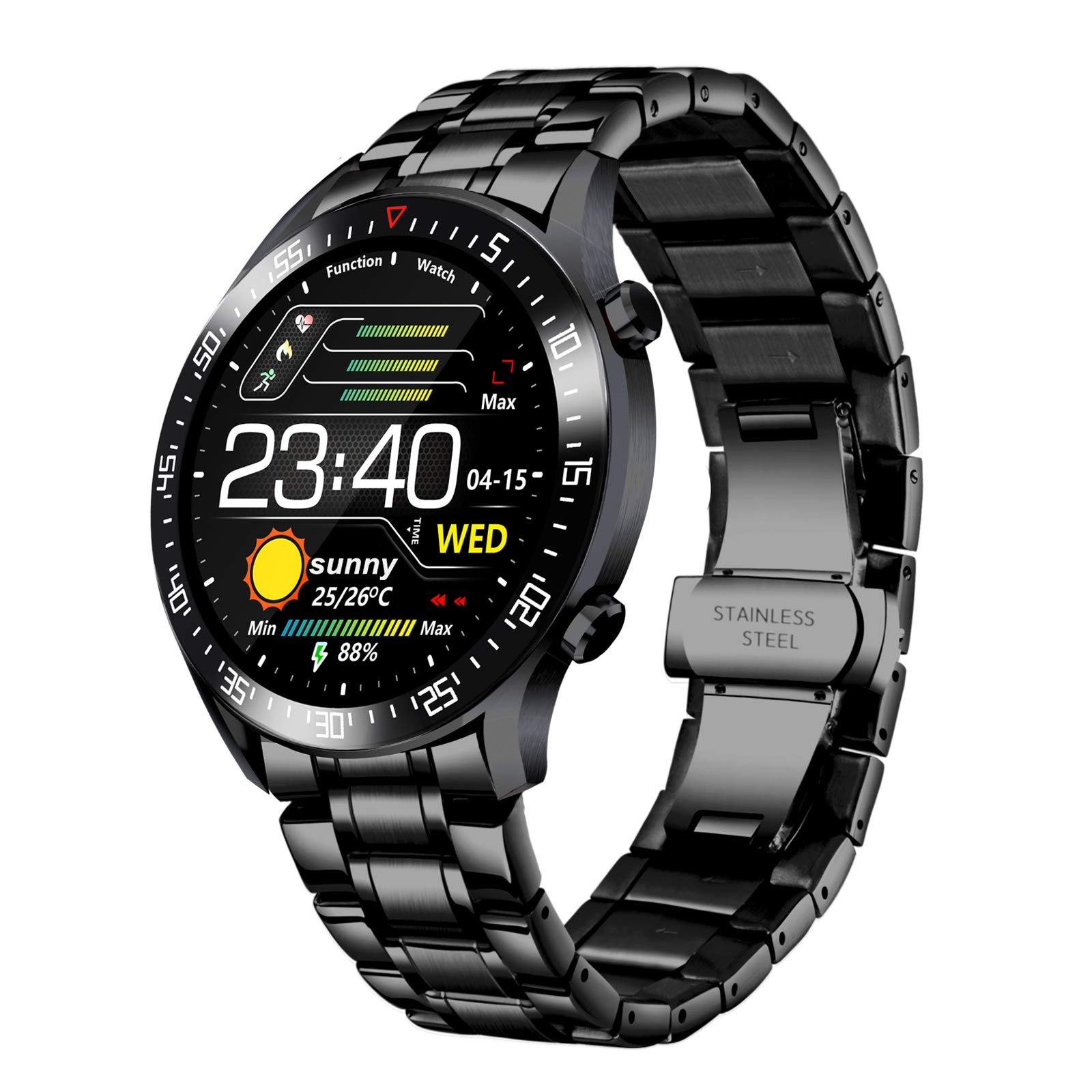 Smart Watch Men Activity Tracker, 1.4 Inch Large Screen Fitness Watches with GPS Blood Pressure Health Monitor Pedometer for iPhone and Android Phones, Stainless Steel