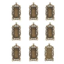 Pandahall 10pcs Antique Bronze Rectangle Pendant Tray Blank Bezel Charms for Jewelry Making Tray: 38x19mm/1.5x0.75inch