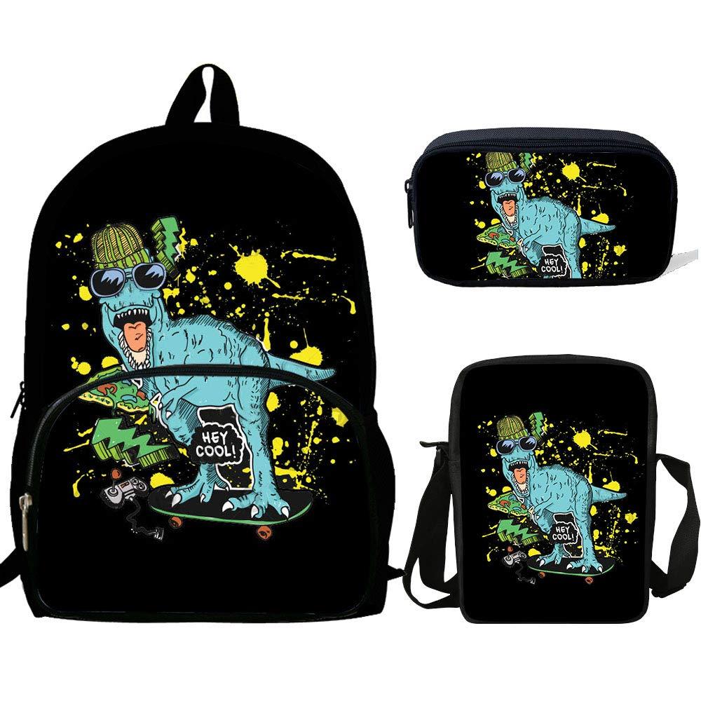 Teen Boys&Girls Dinosaur Skateboarding Backpack Set Kids School Bookbag with Shoulder Bag Pencil Case Animals School Backpacks (HJ999)
