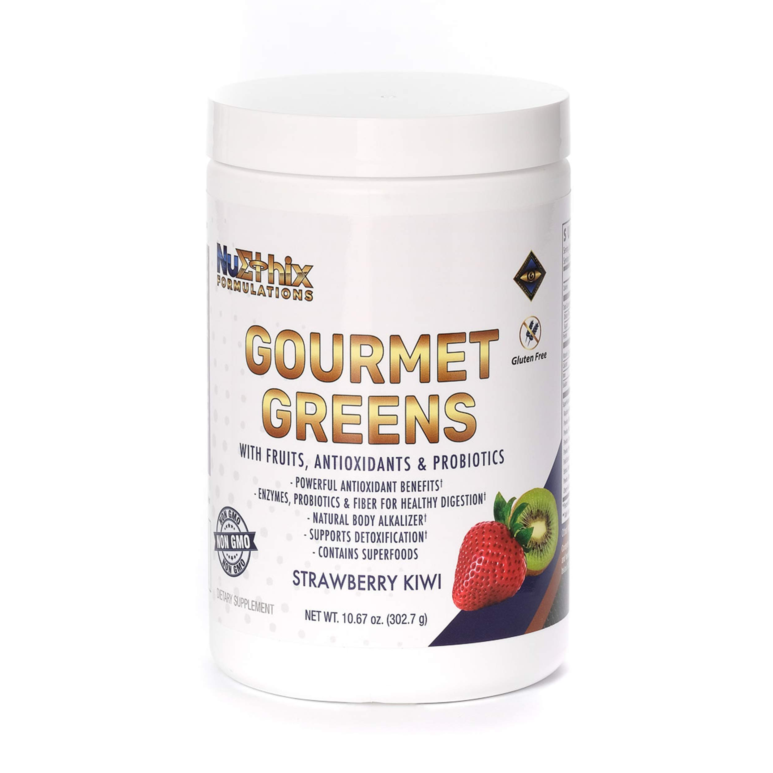 NuEthix Formulations Gourmet Greens Antioxidant Drink Powder with Fruit and Vegetable Superfoods, Strawberry Kiwi, 30 Servings