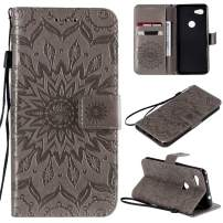 Cmeka 3D Sunflower Wallet Case for Google Pixel 3a with Credit Card Slots Holder Magnetic Closure Slim Flip Leather Kickstand Function Protective Case Gray