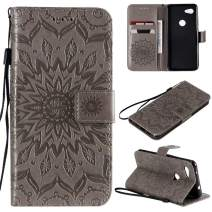 Cmeka 3D Sunflower Wallet Case for Google Pixel 3a XL with Credit Card Slots Holder Magnetic Closure Slim Flip Leather Kickstand Function Protective Case Gray