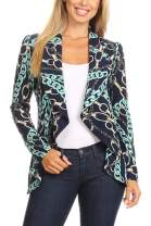 Pattern Print Casual Office Long Sleeve Open Front Blazer Jacket/Made in USA Chain Mint Navy 3XL