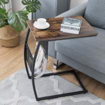 Tangkula Sofa Side End Table, C Table Snack Table with Side Pocket & Metal Frame, Over Bed Table Industrial Side Table for Sofa Couch Bed, Living Room, Bedroom (Rustic Brown)