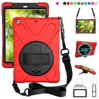 ZenRich New iPad 9.7 2017 2018 Case,360 Degree Rotatable with Kickstand,Hand Strap and Shoulder Strap case, 3 Layer Hybrid Heavy Duty Shockproof case for iPad 9.7 5th/6th Generation (Red)