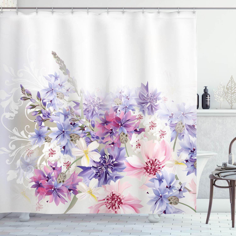 "Ambesonne Lavender Shower Curtain, Pastel Cornflowers Bridal Classic Design Gentle Floral Wedding Design Print, Cloth Fabric Bathroom Decor Set with Hooks, 84"" Long Extra, Violet Pink"