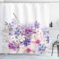 "Ambesonne Lavender Shower Curtain, Pastel Cornflowers Bridal Classic Design Gentle Floral Wedding Design Print, Cloth Fabric Bathroom Decor Set with Hooks, 75"" Long, Violet Pink"