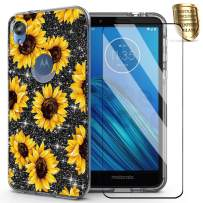 for Motorola E6 Case Glitter,DDTKZC Tempered Glass Protector Lustre Pattern-Sparkle 3 in 1 Clear Shockproof Cover for Moto E6 (Yellow Sunflower)
