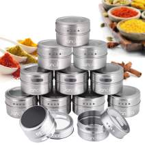 Janolia Spice Jars, 12 Magnetic Spice Containers, Stainless Steel Round Seasoning Set with Twist Top, for Salt, Pepper, Herbs(Silver)
