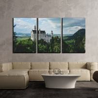 """wall26 - 3 Piece Canvas Wall Art - Overlook of Ancient Castle - Modern Home Decor Stretched and Framed Ready to Hang - 16""""x24""""x3 Panels"""