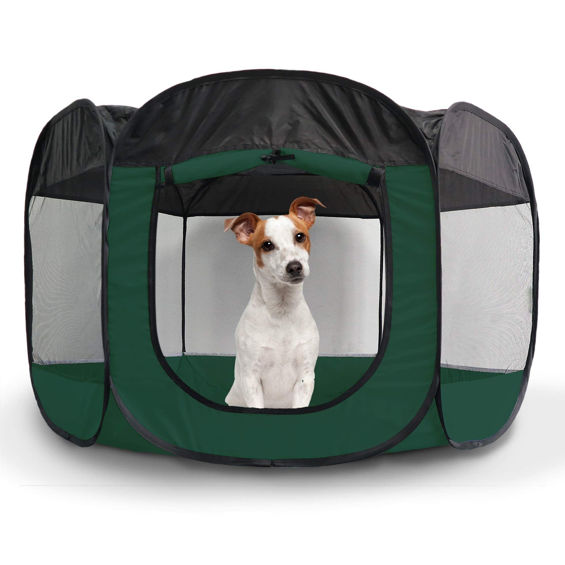 Furhaven Pet Playpen - Indoor/Outdoor Mesh Open-Air Playpen & Exercise Pen Tent House Playground for Dogs & Cats, Hunter Green, Large