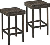 Crosley Furniture CO7107-BR Palm Harbor Outdoor Wicker 24-inch Counter Height Stools, Set of 2, Brown