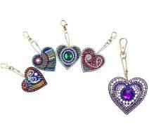 DIY Key Chains Diamond Painting by Numbers Kits, Full Drill Rhinestone Mosaic Making Christmas Decorative for Art Craft Key Ring Phone Charm Bag Decor (5 Pack) (Love Heart)