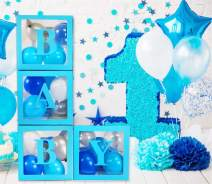 Baby Shower Balloons Clear Box for Favors, Baby Balloons Decorations, Unicorn Baby Shower Decorations, Mermaid Baby Shower Decorations, Baby 1st Birthday Decoration (Blue)