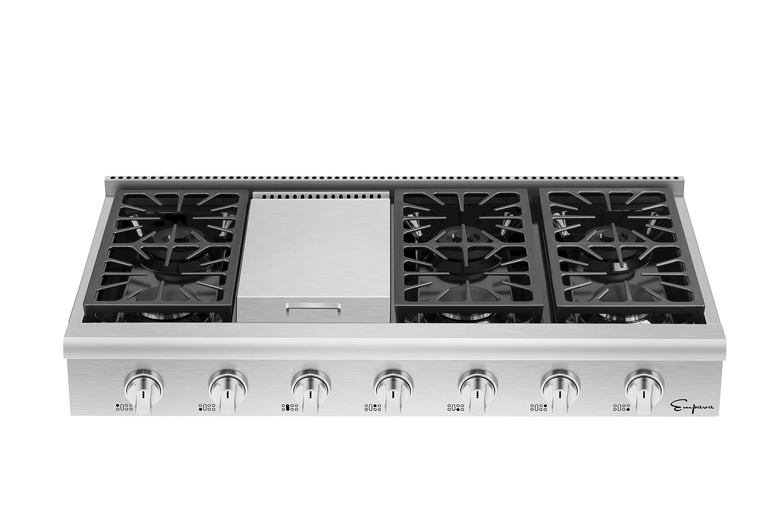 Empava 48 in. Pro-Style Professional Slide-in Natural Gas Rangetop with 6 Deep Recessed Sealed Ultra High-Low Burners-Heavy Duty Continuous Grates-Infrared Griddle in Stainless Steel, 48 Inch, Silver