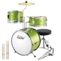 Eastar 14 inch 3 Piece Kids Drum Set with Throne, Cymbal, Pedal & Drumsticks,Metallic Green (EDS-180G)