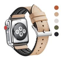 WFEAGL Compatible iWatch Band 38 40mm,Top Grain Leather and Nature Rubber Hybrid Sweatproof Band for iWatch Series 5,Series4,Series 3,Series 2,Series 1,Sport (38mm 40mm Camel Hybrid Band)