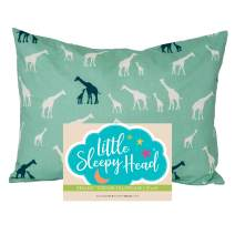 Little Sleepy Head Toddler Pillowcase 13x18-100% Organic Cotton & Hypoallergenic - Giraffe Family
