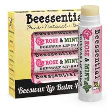 Beessential All Natural Rose & Mint Lip Balm 4 pack - Heals and Prevents Dry and Chapped Lips – Great for Men, Women, and Children – Moisturizing Beeswax, Coconut, Shea and Cupuacu Butter