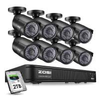ZOSI PoE Home Security Camera System,8CH 2MP NVR with (8) 2.0 Megapixel 1920x1080 Outdoor/Indoor Surveillance Bullet IP Cameras 120ft Long Night Vision(2TB Hard Drive Built-in)