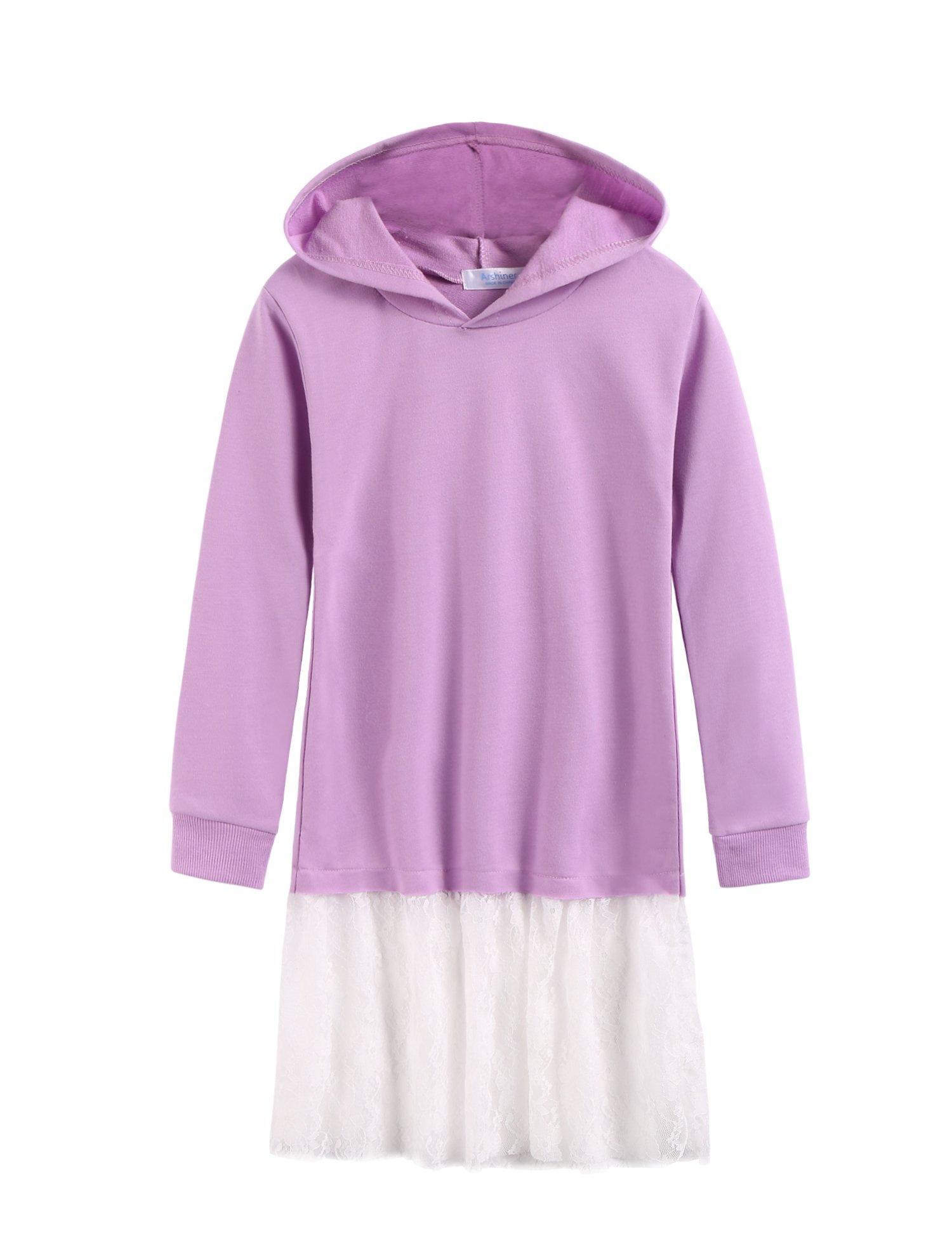 Arshiner Girl's Casual Long Sleeve Sweatshirts Dress with Hoodie, Purple 140