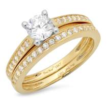 1.20ct Round Cut Pave Solitaire Accent Lab Created White Sapphire & Simulated Diamond Engagement Promise Statement Anniversary Bridal Wedding Ring Band set Real Solid 14k 2 Tone Gold
