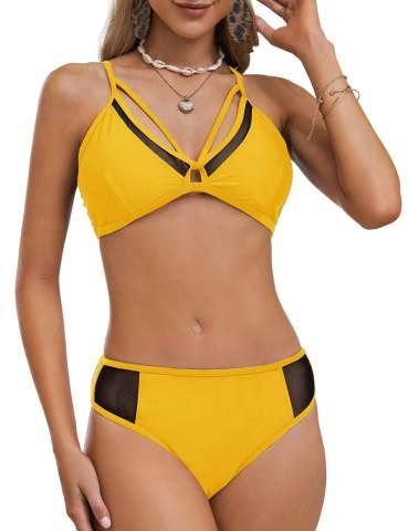 SweatyRocks Womens Swimwear Set Solid Scoop Neck High Waisted Bikini Swimsuits